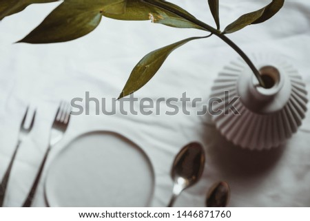 Festive wedding table setting blurred background up with space for text. Green branch in vase mockup top view table setting. Wedding table setting for design, blogs, text.
