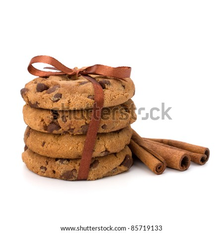 Festive wrapped chocolate pastry biscuits isolated on white background