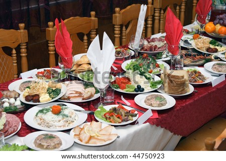 Russian Service Table Set Up http://www.shutterstock.com/pic-44750923/stock-photo-festively-covered-russian-table-with-various-dishes.html