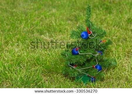 Festively decorated Christmas tree standing on the lawn #330536270