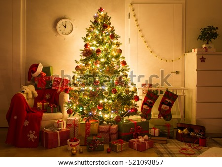 festively decorated home interior with Christmas tree #521093857