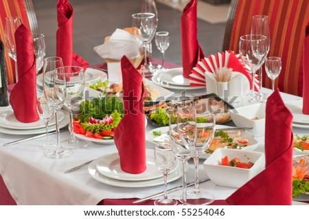 Festively served table at restaurant for a banquet.