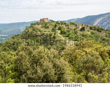 Fet uninhabited village at the edge of Canyelles reservoir, Huesca province, Spain Stok fotoğraf ©