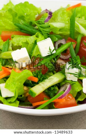 Feta cheese salad with fresh greens