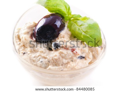 Feta cheese spread with back olives