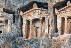 Fethiye King Tombs, Fethiye center of the 4th century BC, carved into the rock tomb. The Lycian Amintas King Tombs were built in Ionian style and carved from a single piece of rock.