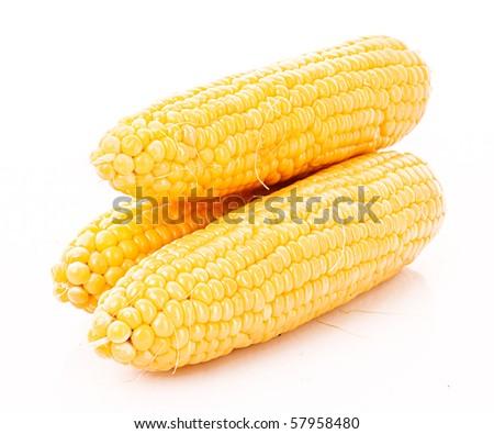 Few corn isolated on white - stock photo
