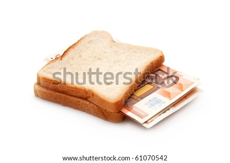 Few 50 euro banknotes in toast sandwich