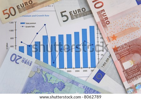 Few Euro bills over a stock chart