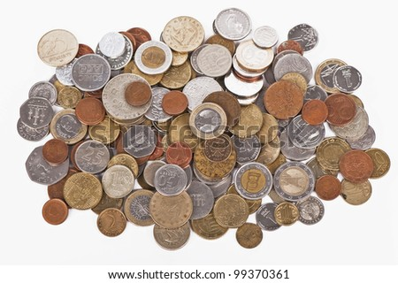 few euros coins, isolated on white background