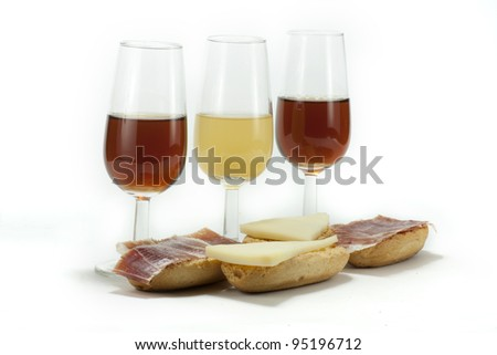 few glasses of Spanish wine, with a snack
