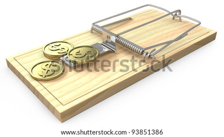 Few golden coins on a mouse trap, isolated on white background