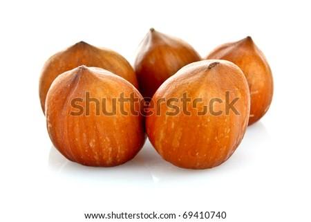 Few Hazelnuts Isolated on White Background