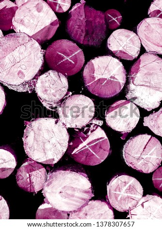 few sections of facade of the building with wooden decorative cross-section of a tree toned to burgundy violet pink #1378307657