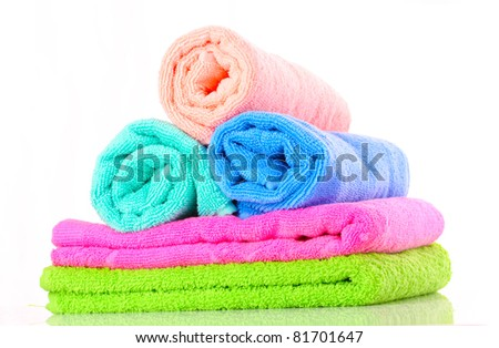 Few towels isolated on white