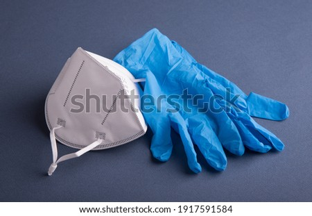 FFP2 protective mask and PPE gloves. Stok fotoğraf ©