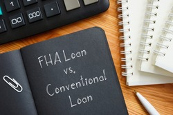 FHA Loan vs. Conventional Loan is shown on the business photo using the text