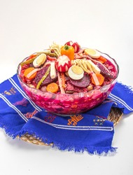 Fiambre  (traditional Guatemalan family dish eaten on Nov 1, All Saints' Day / Day of the Death), mix of cold cuts, sausages, vegetables. Served on a guatemalan textile, isolated on white background.