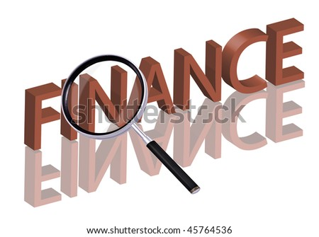 fiance button finance icon Magnifying glass enlarging part of red 3D word with reflection
