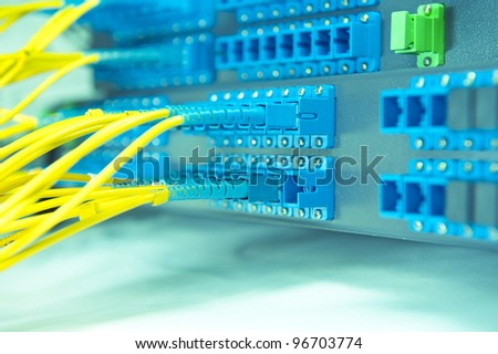 fiber cable serve with technology style against fiber optic background