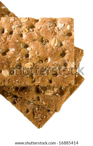 Fiber Crispbread isolated on white