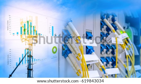 Fiber optic cables connected to patch panel of network gigabit switch blending with Antenna tower and repeater of Communication and telecommunication with chart, graph #619843034