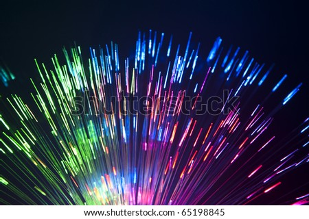Fiber optics background, bunch of the optical fibres #65198845