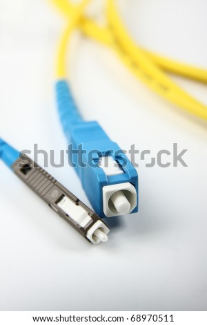 Fiber Optics connectors. Internet Service Provider equipment. Focus on fiber optic cables. Data Network Hardware Concept.