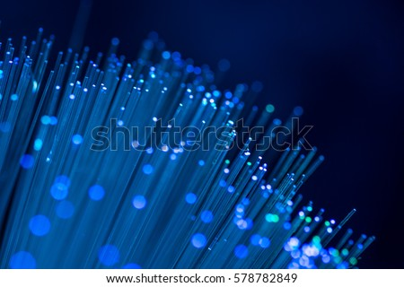 Fiber optics in blue, close up with bokeh