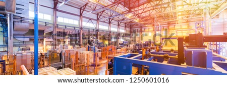 Fiberglass production industry equipment at manufacture background Stockfoto ©