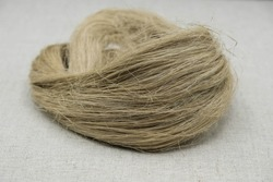 Fibers of natural uncolored flax or hemp, tow, close-up. Gray canvas. Flax or hemp processing concept. Growing demand for natural fibers.