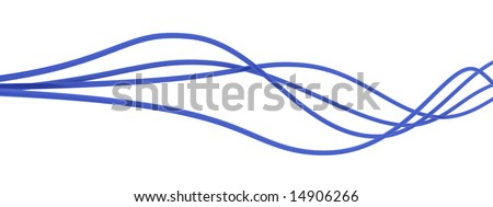 fibre-optical blue cables on a white background