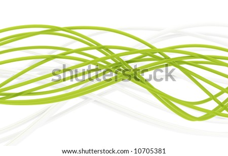 fibre-optical green and metal silvered cables on a white background