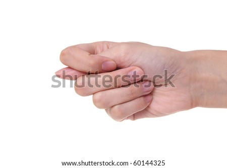 Fico  gesture of a hand on a white background