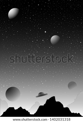 Fiction planet, stars, celestial body and flying saucer.