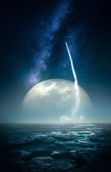 Fictional image of a rocket launch on icy planet surface with huge moon and milky way on background. Some elements of this image furnished by NASA.