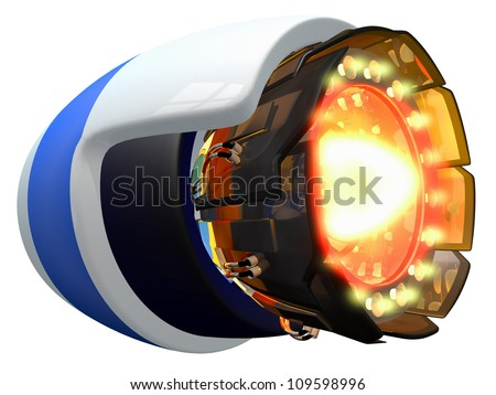 Fictional jet engine, ignited and burning.