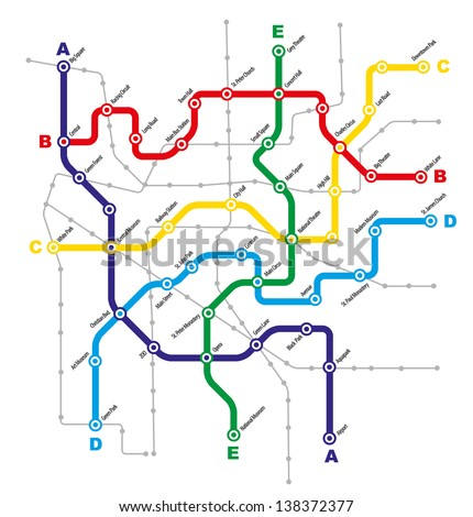 Fictitious City Public Transport Scheme on White Background - stock photo