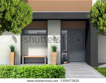 FICTITIOUS 3D rendering of a modern home facade with entrance, front door oand front yard