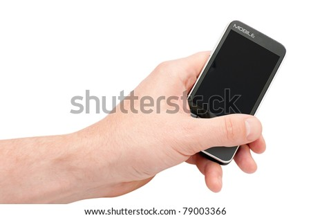 Fictitious Mobile Smartphone in hand with clipping path