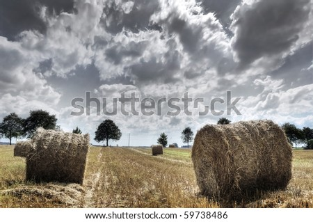 Field and sky. Sheaves in the field. HDR picture.