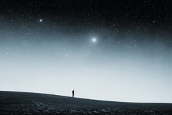 field at night. Elements of this image furnished by NASA