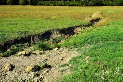 Field erosion on grass slope with erosive grooves made by water, soil erosion or destruction.