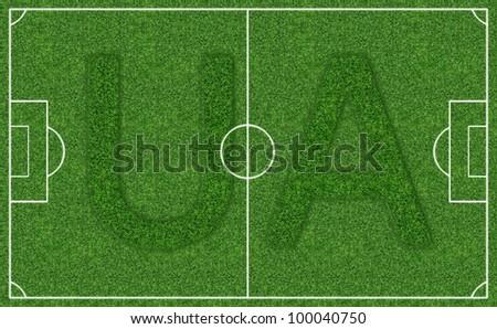 Field football stadium with the logo of Ukraine