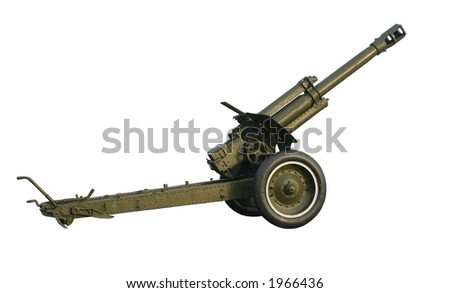 Field-gun, World War, isolated on white