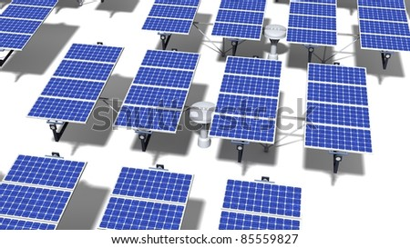 Field of articulated solar panels with midday light on a white background