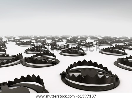 Field of bear traps - stock photo