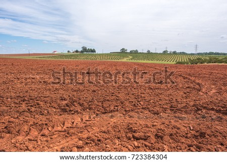 Field of dirt in upstate South Carolina, ready to be farmed.