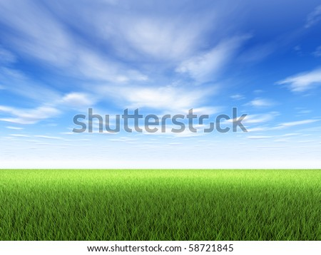 Field of fresh green grass and blue sky with clouds - Shutterstock ID 58721845