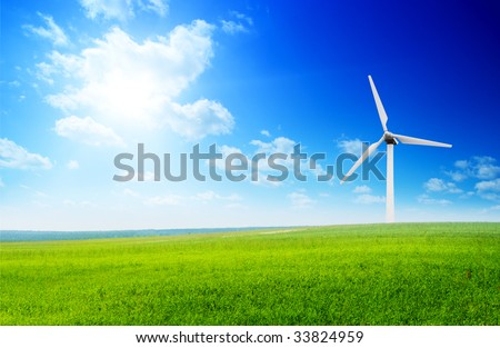 field of summer green grass and windmills